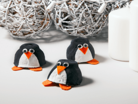 egg carton crafts pinquins