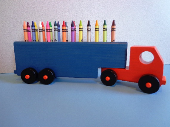 wooden truck crayon holder