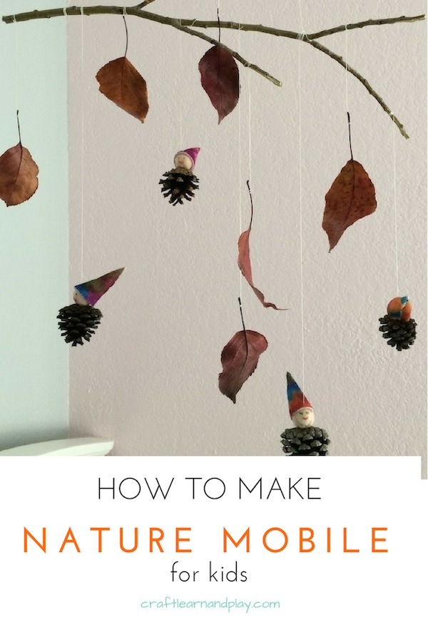 One of our fall craft ideas for kids that still decorates our kid's room. Beautiful nature mobile is easy to make with materials from nature/pinecones and leafs from nature. Click for tutorial #fall #kidscrafts #activities #nature #mobile #ideas #autumn