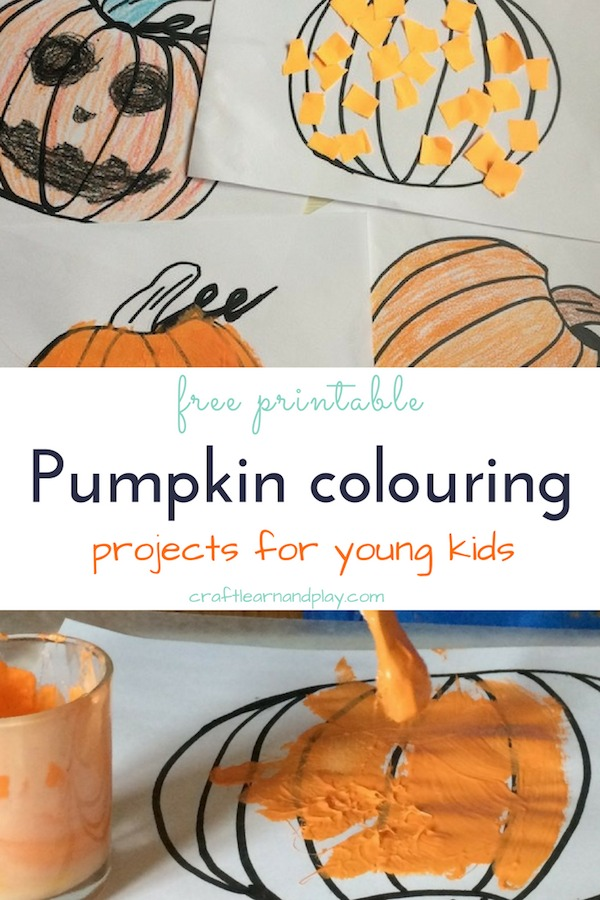 Easy pumpkin colouring projects for a young kids. Find inspiration and ideas for easy pumpkin crafts and colouring activities plus get free printable. Click now. #halloween #pumpkin #colouring #kids #toddler #oneyearold