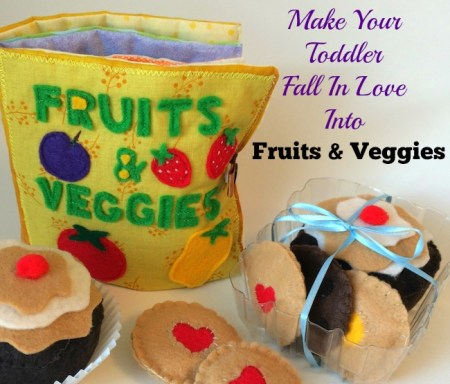 Fruits and veggies activity book with felt cupcake and ccokies