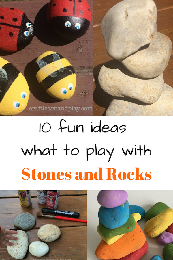 Find inspiration in this fun ideas to play with stones and rocks, like rock crafts for kids, painted rocks, toys made of stones or draw a game on a stones. Each idea can be modified and adjusted to your child. Click for ideas.