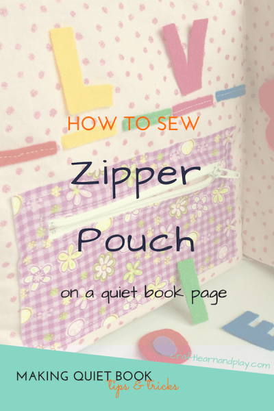 How to sew zipper pouch on a quiet book page