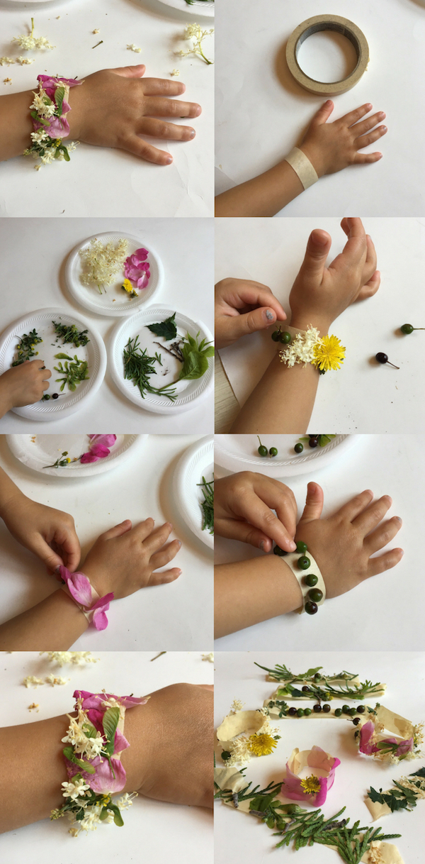 Learn how to make beautiful nature bracelet with kids. One of the best simple nature crafts for kids you can do outside on a nature walk or camping. Click to learn how to make it.