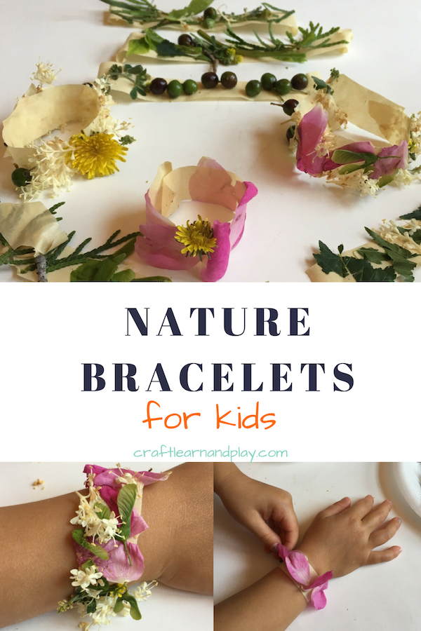 Next time on a nature walk collect objects from nature and make beautiful nature bracelets. Click to see more details