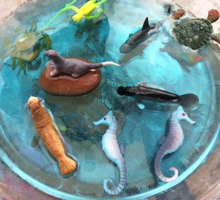 Sea creatures toys for small world play.