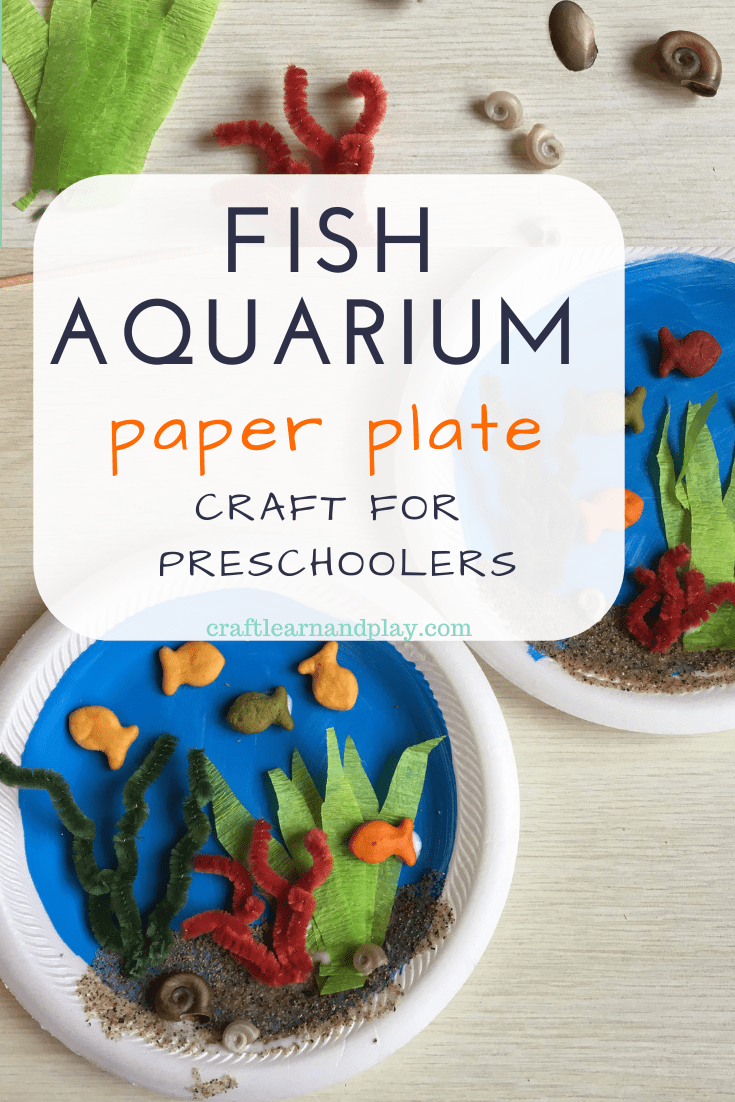 Paper plate fish aquarium craft for 3 year olds