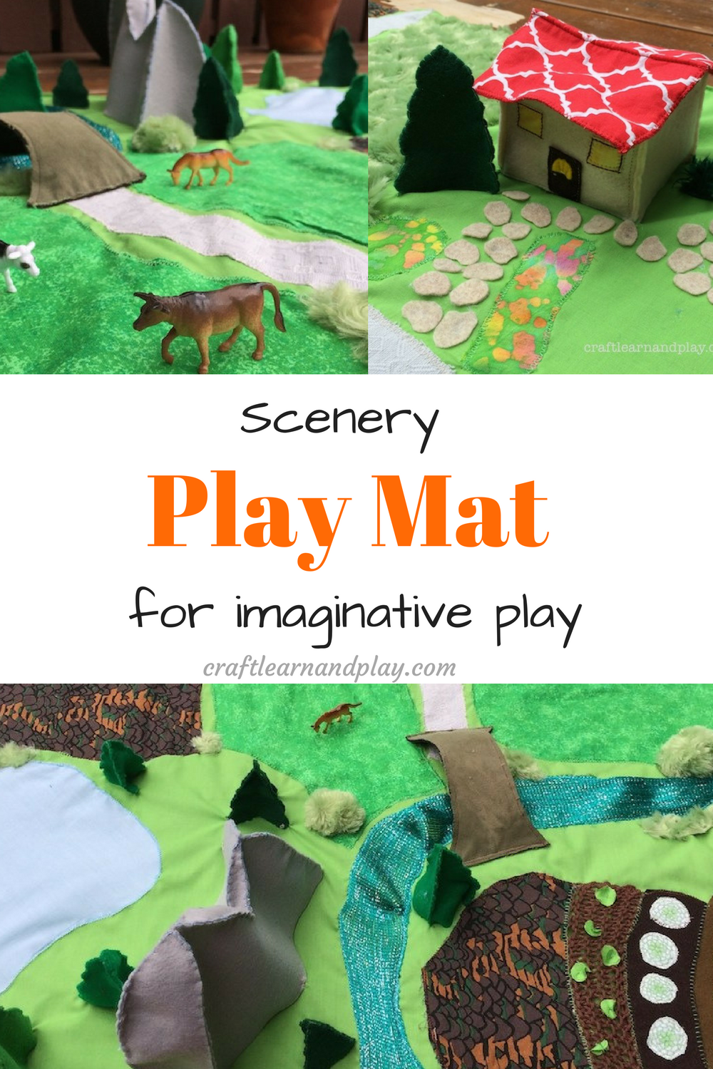 Brilliant scenery play mat for imaginative play. Perfect for kids 2-5 years old. This one is handcrafted and sewed from fabric scraps. Click to se more details.
