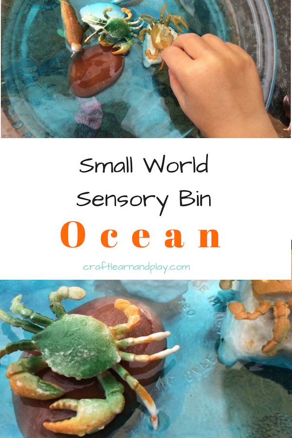Ocean small world activity bin that is easy to set up . Water play and deep see exploration will delight kids. Perfect to learn about sea creatures. Click to find out more.