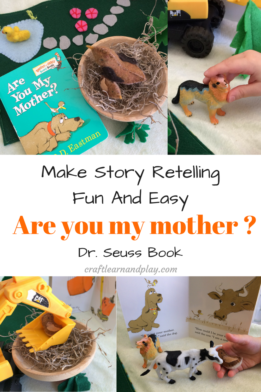 Are you my mother ? - Story retelling activities for preschool. Fun creative idea for kids with making felt bird mommy and baby. Click for free sewing pattern .