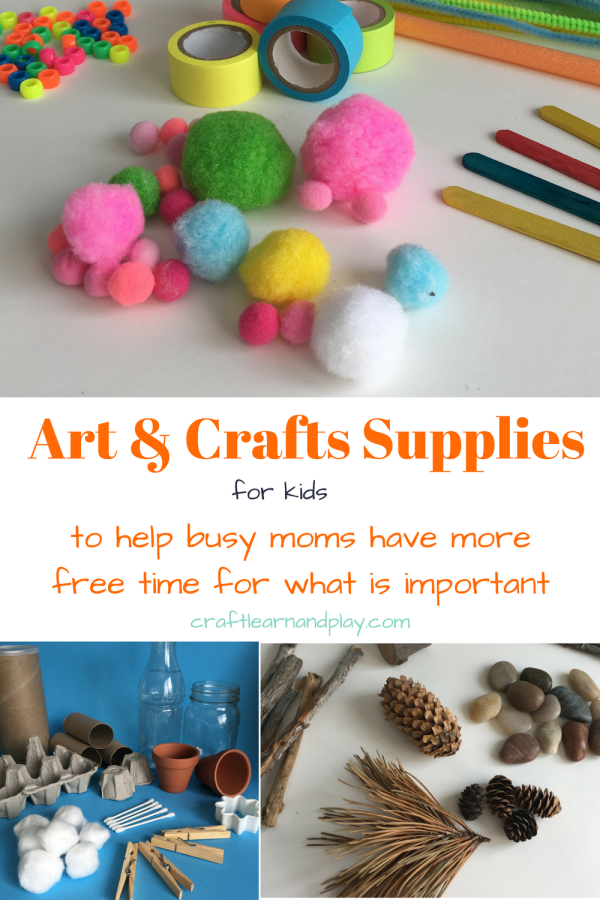 Crafts supplies list for kids that every mom has to have on hand. These products are basic arts and crafts materials needed for toddler or preschool. List includes free materials from nature, cheap household items as products with link where to get it. Click now to check out if you are missing something and download free printable check list.