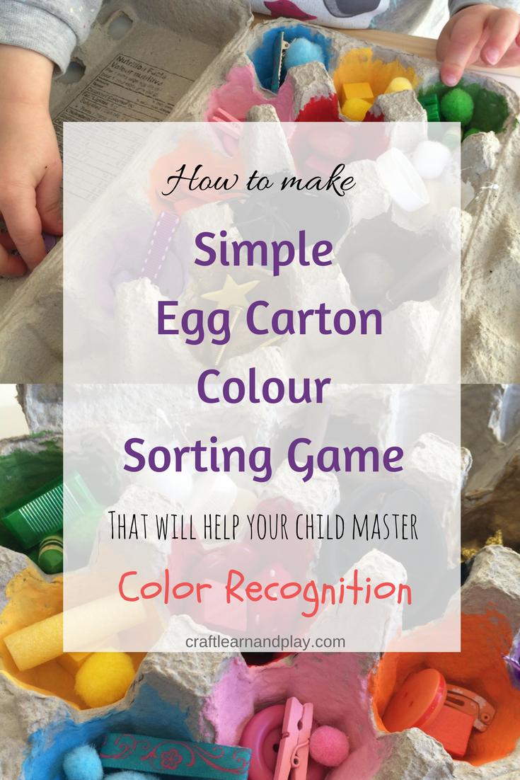 egg carton color sorting game - color recognition game