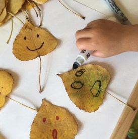 fall activities for kids making leaf faces and learning about feelings