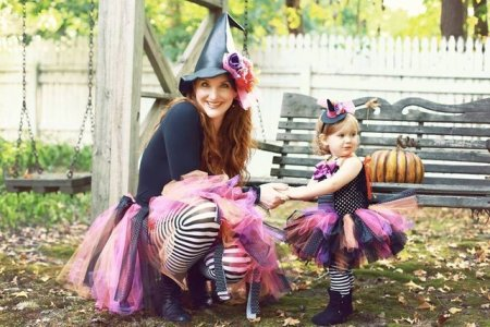 witch mama and baby costume handmade