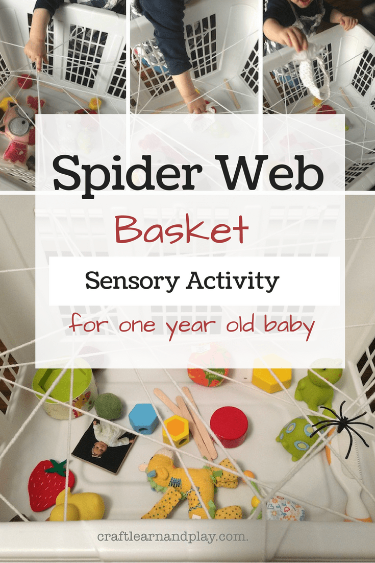 Simple DIY sensory activity for one year baby - spider web basket