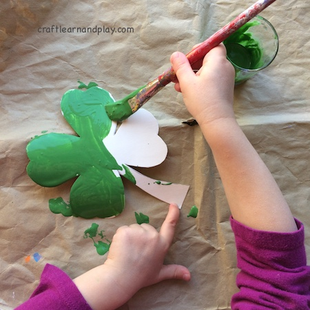 shamrock crafts for kids - painting kids