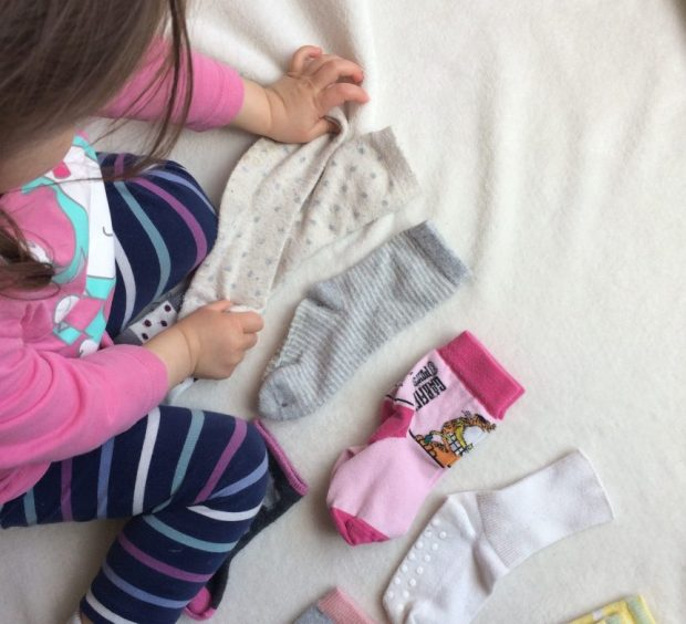 sorting socks kids chores montessori activity