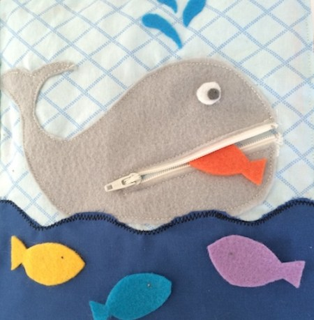 Zipper whale quiet book page sewing pattern and tutorial
