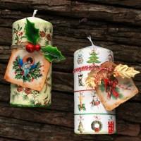 Χριστουγεννιατικα κερια με decoupage και ετικετες
