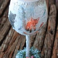 Χριστουγεννιατικο διακοσμητικο ποτηρι για ρεσω, με decoupage