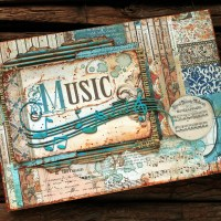 "Album scrapbooking accordion style ""Music"""