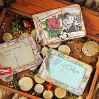 Scrapbooking mini one-page vintage albums.