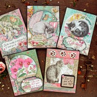 """Cards with scrapbooking papers """"Orchids and Cats"""""""