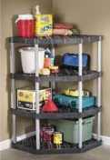 rubbermaid shelving corner unit