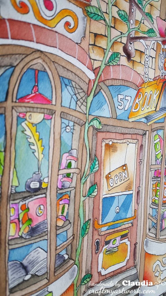 bookstore watercolor illustration zoom in detail door and window