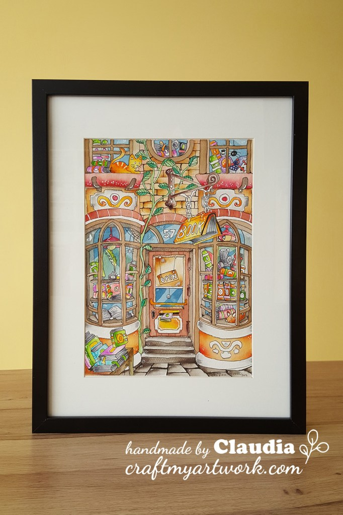 bookstore watercolor illustration framed front view