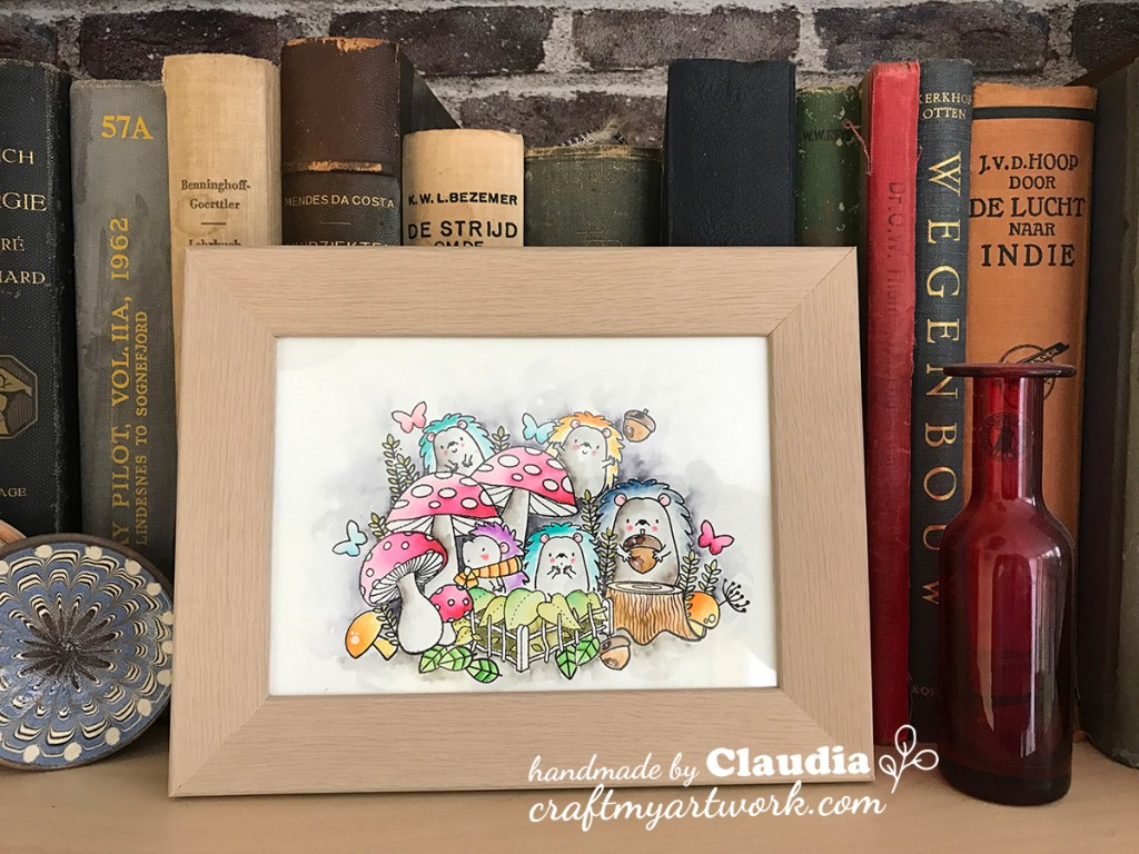 watercolor hedgehogs MFT with mushrooms watercolor frontview frame