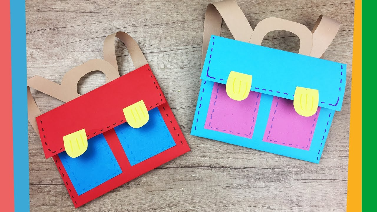 3 Designs of Cute Crafts Using Paper Bags Back To School Craft Easy Diy Paper School Backpack For Kids Youtube