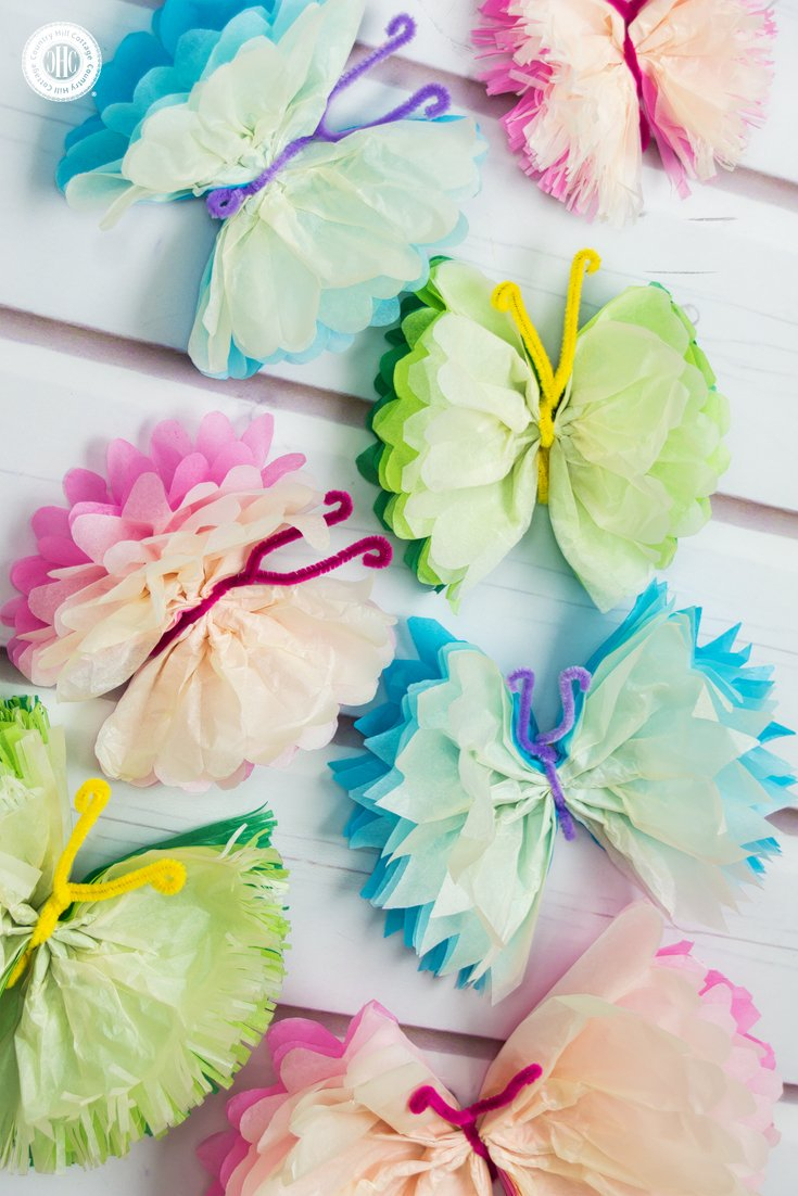 3 Easy Designs of Crafts Out Otissue Paper Tissue Paper Butterflies Fun Paper Craft Diy