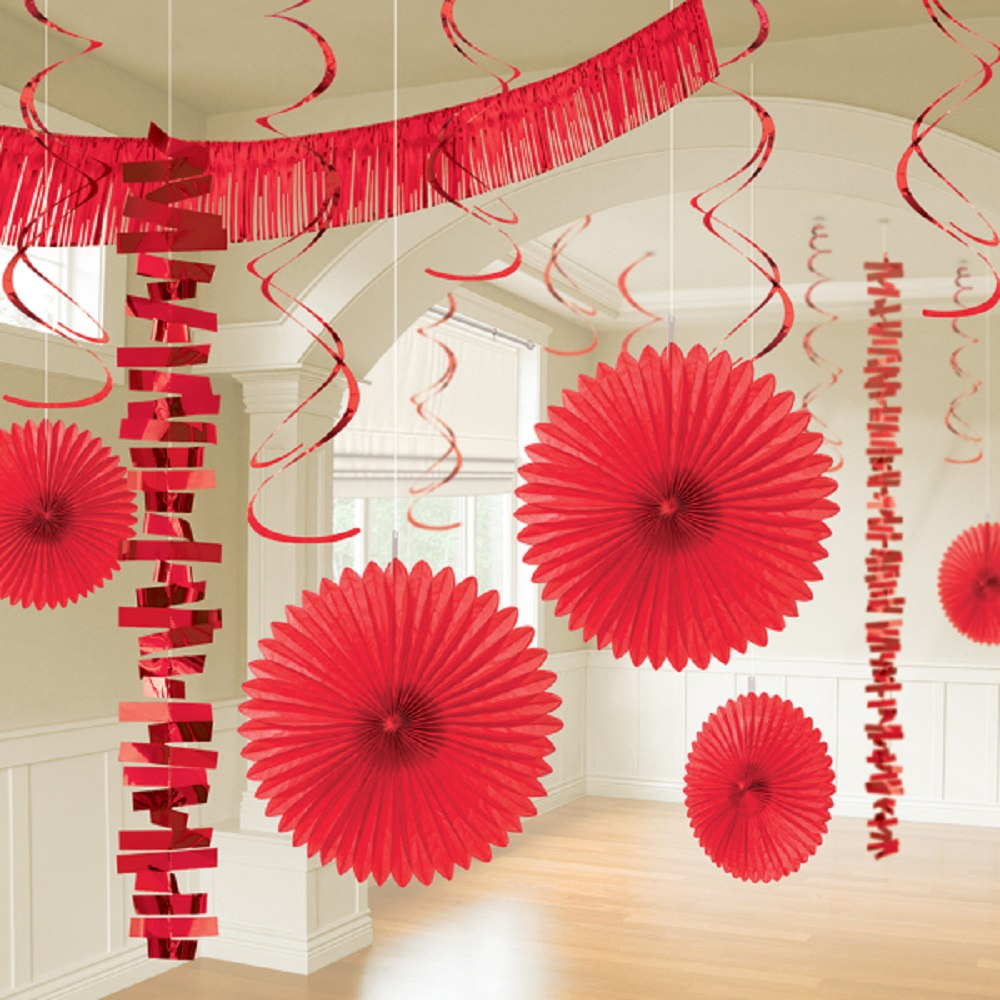 Awesome valentine construction paper crafts 18 X Red Hanging Paper Party Decorations Valentines Party Room