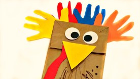 Crafts With Paper For Kids Paper Bag Handprint Turkey Puppet Crafts For Kids