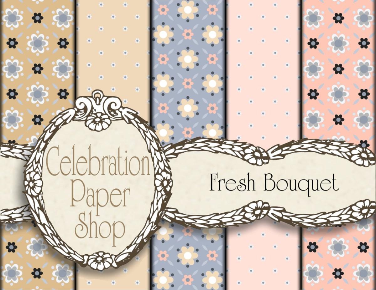 Crafts With Scrapbook Paper Flower Digital Paper Background Paper Floral Digital Paper Etsy