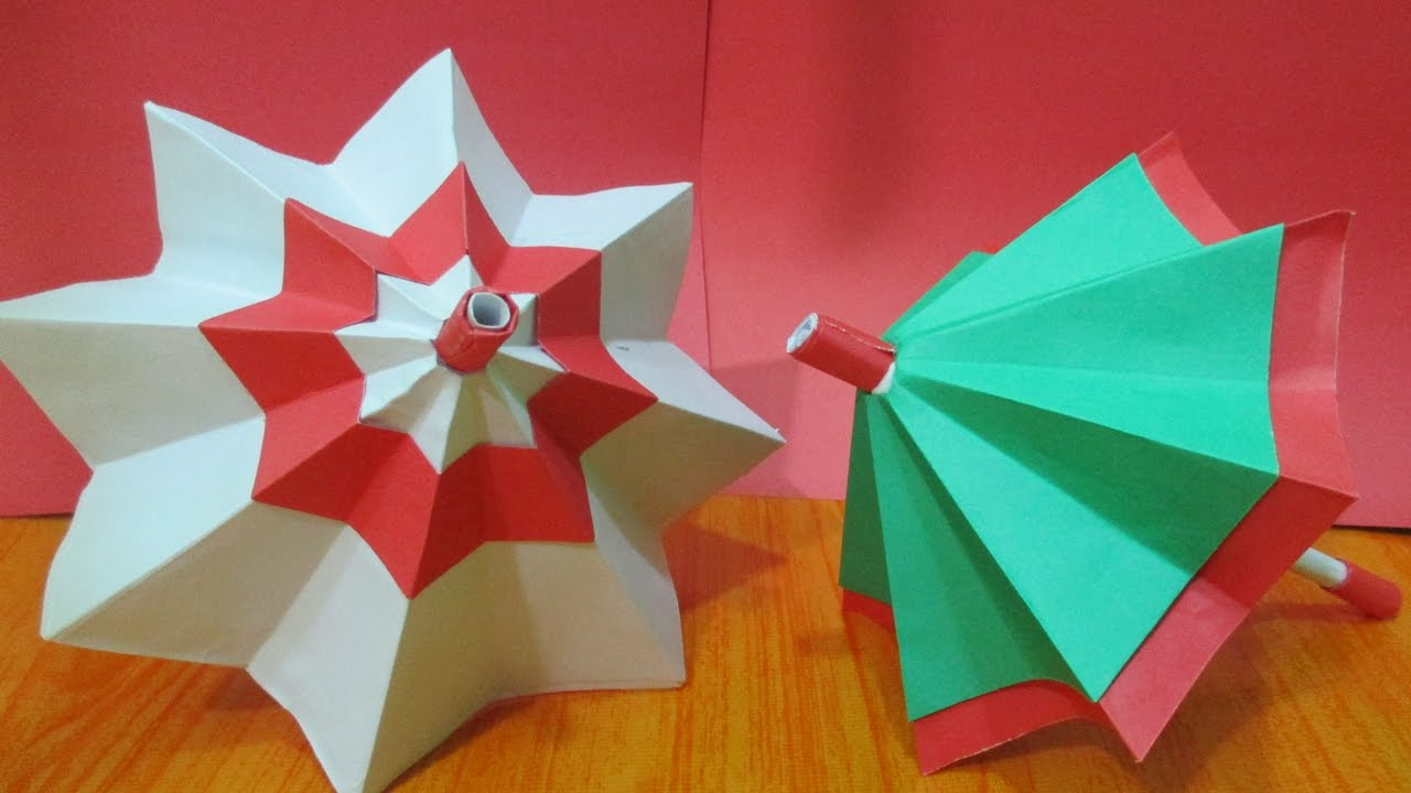 Create paper umbrella craft for party glass decor How To Make Paper Umbrella Origami Paper Umbrella Diy For Kids