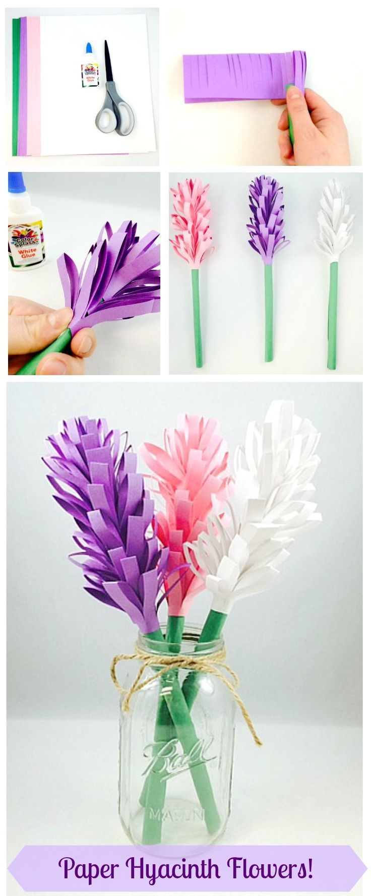 Easy Paper Craft Ideas For Kids Easy Paper Hyacinth Flowers Paper Love Paper Crafts Crafts