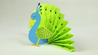 Easy Paper Craft Ideas For Kids Paper Crafts For Kids Easy Blue And Neon Peacock With Paper Youtube