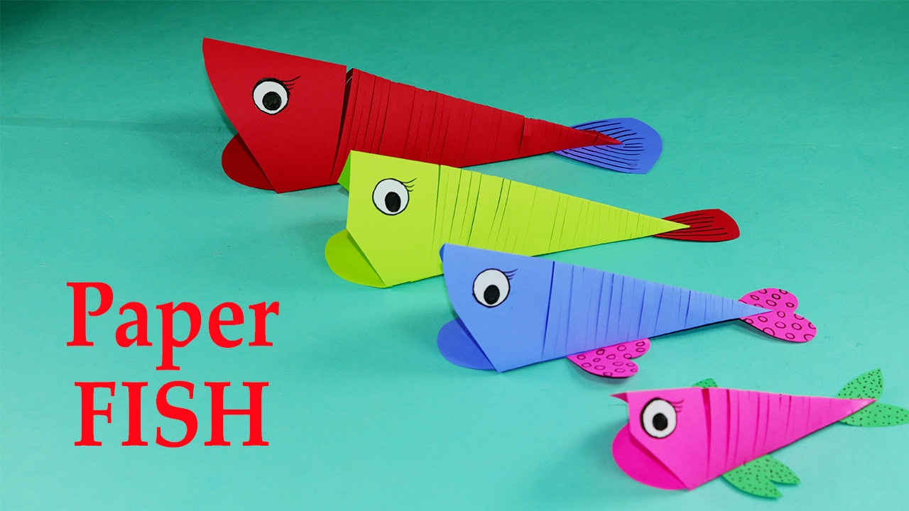 Easy Paper Craft Ideas For Kids Paper Crafts For Kids Easy Paper Fish Crafts Diy Tutorial Youtube