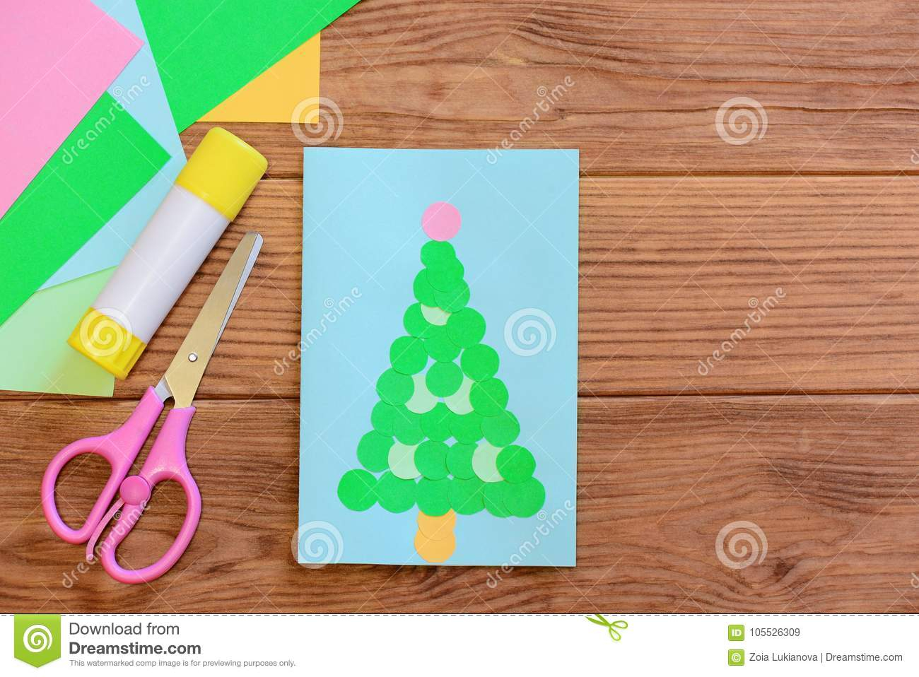 Easy Paper Craft Ideas For Kids Winter Holiday Card Merry Christmas Greeting Card Colored Paper