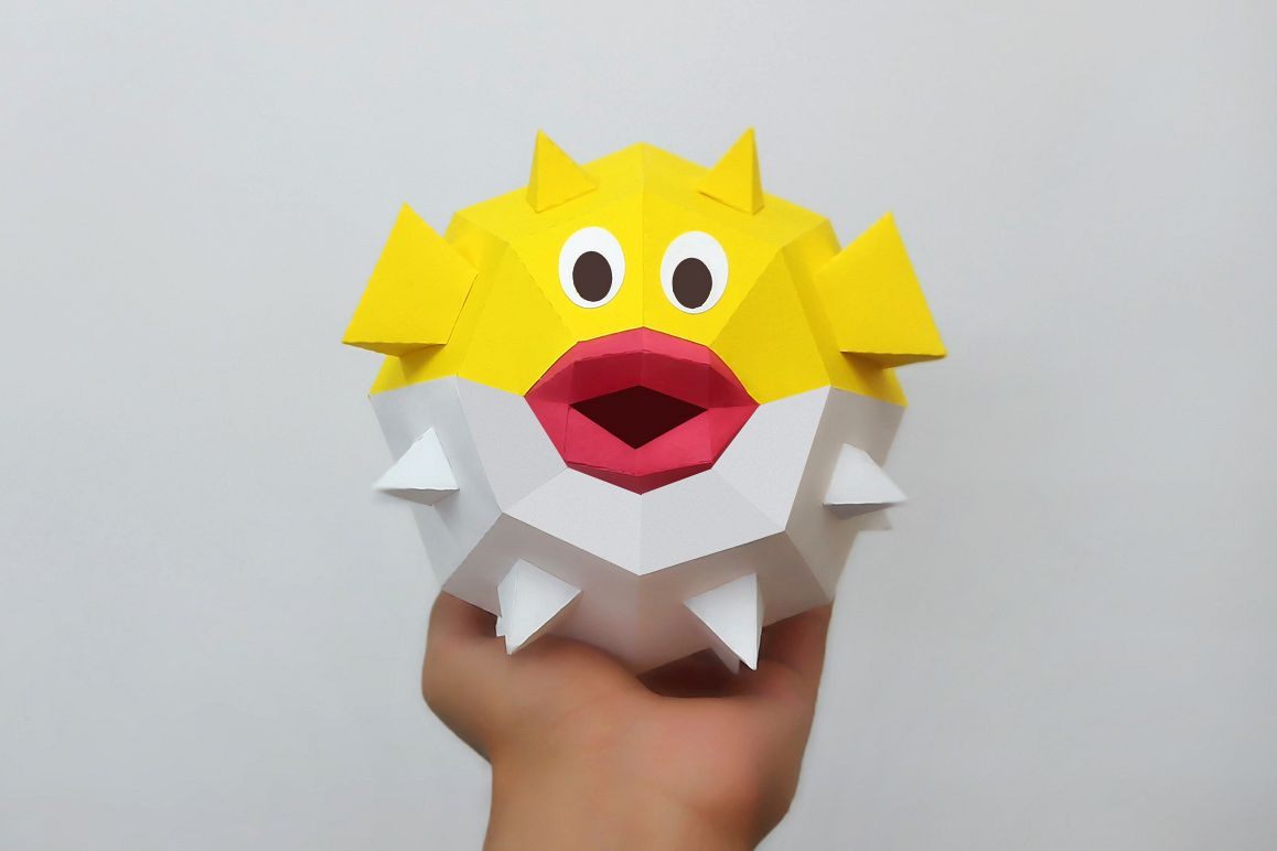 How to Make Paper Craft Fish for Kids Diy Puffer Fishpapercraft Fish3d Puffer Fishpaper Toy