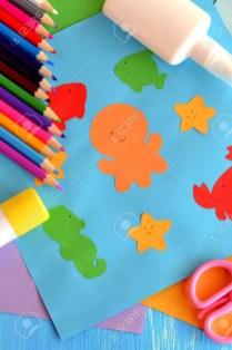 Kindergarten Paper Crafts Preschool Sea Animals Arts And Crafts Paper Ocean Animals Children