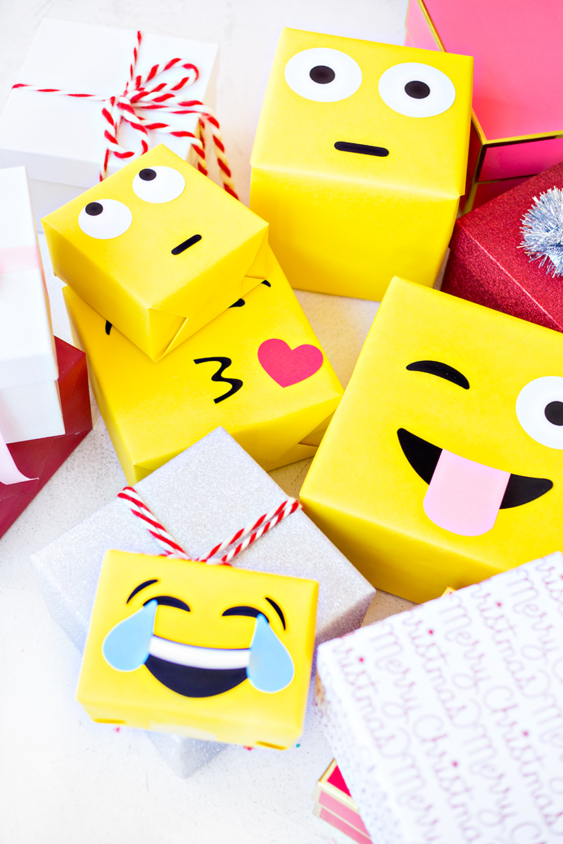 Make reuse crafts with wrapping paper leftover Diy Emoji Gift Wrap Studio Diy
