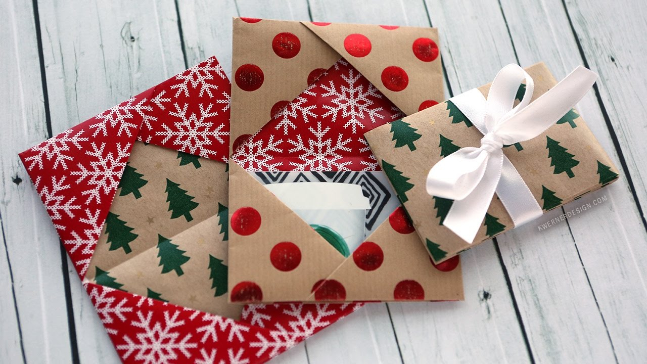 Make reuse crafts with wrapping paper leftover Holiday Card Series 2016 Day 5 Diy Gift Card Holder Made From