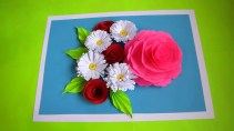 Paper Craft Flowers Bouquet Diy Flower Bouquet Pop Up Card Paper Crafts Handmade Craft