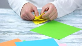 Paper Crafts Instructions Hands Folding Spring Flower From Paper Paper Crafting Lesson How