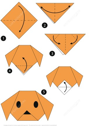 Paper Crafts Instructions Origami Step Step Instructions Of A Dog Face Free Printable
