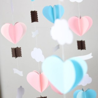Wedding Paper Crafts 4 Feets Pastel Pink Blue Heart Garland With Banner 3d Paper Crafts