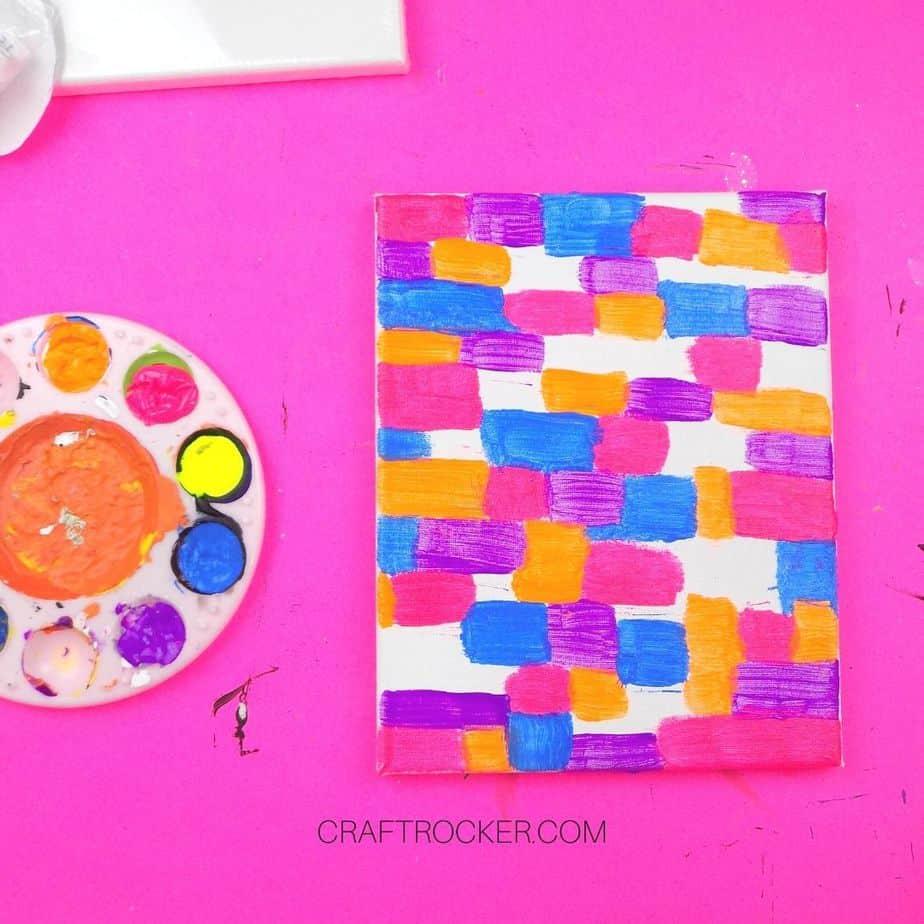 Blue Pink Orange and Purple Rectangles on Canvas - Craft Rocker